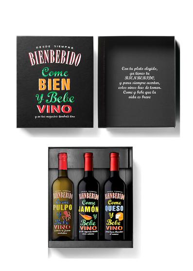 Estuche Bienbebidos 3 botellas (Pulpo + Jamón + Queso)