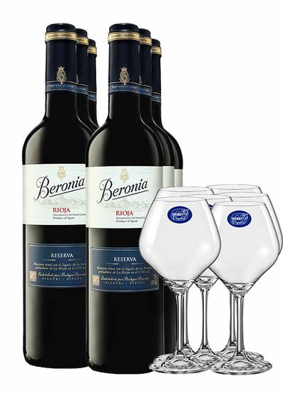 Pack Beronia Reserva 2014 (x6)+ 6 copas de regalo
