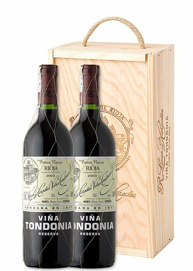 Viña Tondonia Reserva 2004 estuche dos botellas en caja de madera