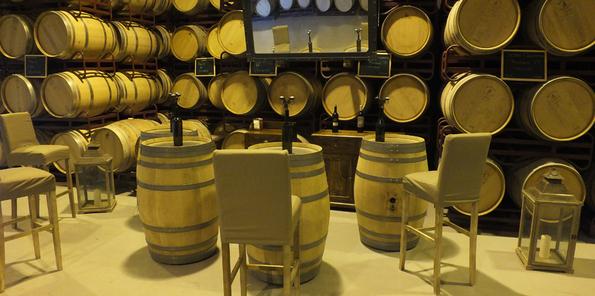 Sala de degustación y barricas