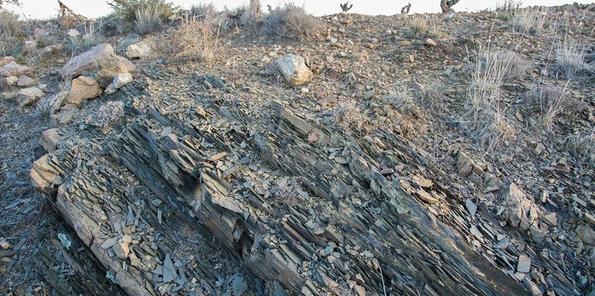 Detalle del suelo de pizarra descompuesta