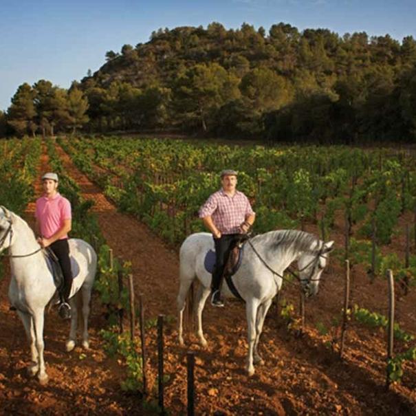 Los fundadores de 4 Kilos Vinícola a caballo