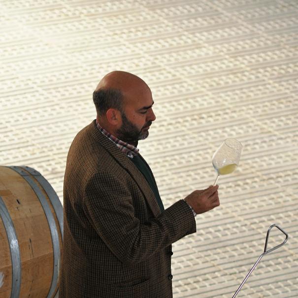Jaime Saiz de la Hoya catando uno de los vinos