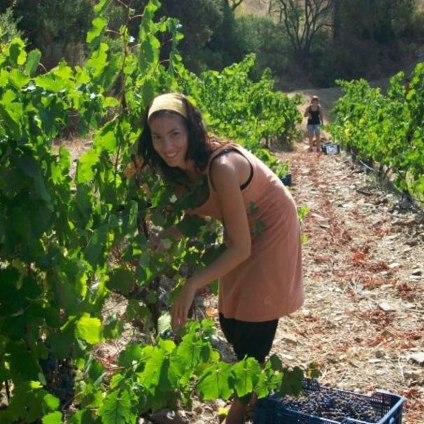 Sara Pérez haciendo trabajos en viñedo